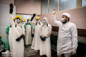 تطهیر پیکر اموات کرونایی در تهران