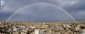 عکس/ رنگین کمان زیبا در آسمان صنعا