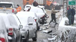 عکس/ تصادف زنجیرهای ۶۰ خودرو در شیکاگو