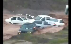 فیلم/ واژگونی چند خودرو در سیل امروز پرند