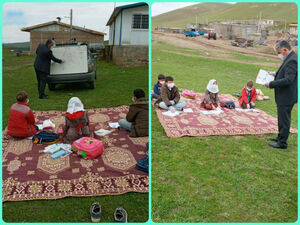 عکس/ کلاس درس معلم دلسوز برای بچههای روستا