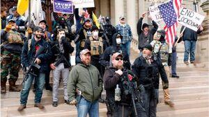 فیلم/ معترضان مسلح در فرمانداری میشیگان