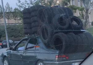 عکس/ حمل بار عجیب با خودرو سواری