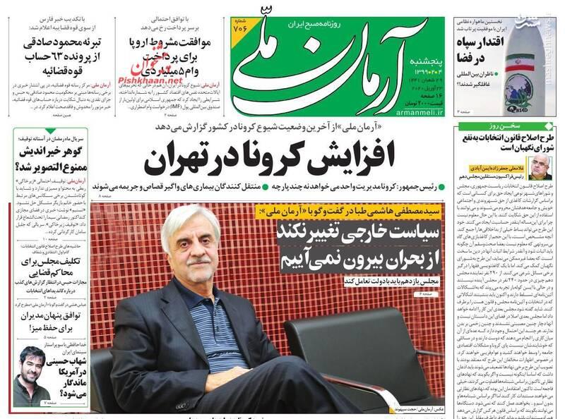 آرمان ملی: افزایش کرونا در تهران
