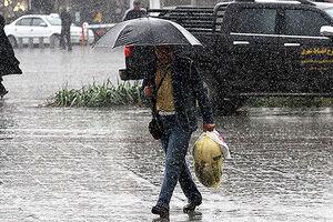 فیلم/ بارش شدید باران و تگرگ در تبریز