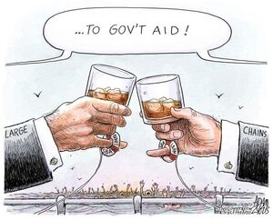 کاریکاتور/ کمپانیهای بزرگ زنجیرهای مردم عادی را غرق میکنند