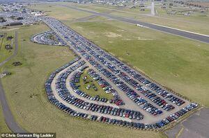 تصویرهوایی از پارکینگ خودروهای دپو شده
