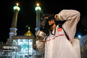 عکس/ ضدعفونی بازارچه و حرم سیدالکریم(ع)