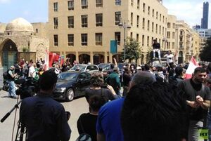 تجمع لبنانیها مقابل پارلمان و کاخ دادگستری با وجود کرونا
