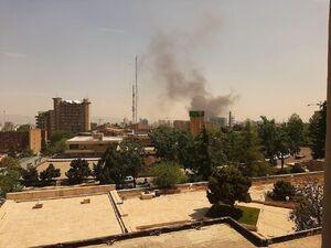 عکس/ آتشسوزی در نزدیکی بزرگراه کردستان