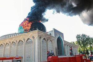 عکس/ آتش سوزی گنبد مسجد ستاد ناجا