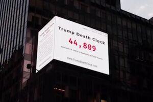 فیلم/ بیلبورد شمارنده مرگ ترامپ در نیویورک