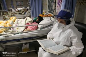 فیلم/ حال و هوای بیمارستان مبتلایان کرونا در شب قدر