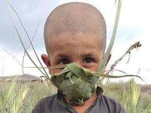 عکس/ ماسک حصیری، ماسک کودک پاکستانی، برای دوران شیوع کووید-۱۹ - کراپشده