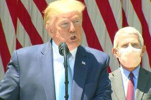 فیلم/ مختلکردن سخنرانی ترامپ بوسیله بوق کامیون!
