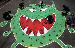 عکس/ نقاشی کرونا در خیابان هند