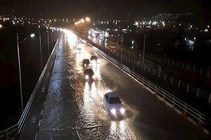 ترافیک سنگین در بزرگراه همت و بسیج پس از بارندگی