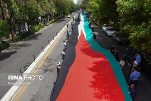عکس/ پرچم ۲۰۰ متری فلسطین در تبریز