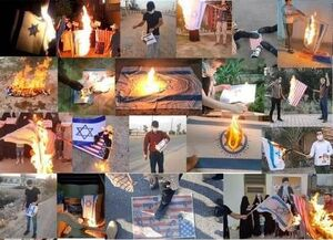 عکس/ پویش آتش زدن پرچم اسراییل در عراق