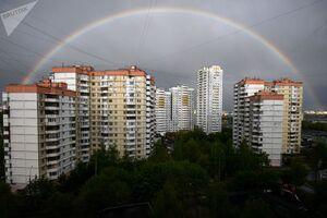 رنگین کمان بر فراز آپارتمان ها در مسکو