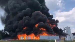 آتش سوزی در یک کارخانه رب سازی