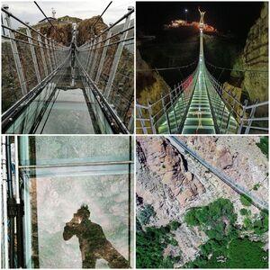 عکس/ اولین پل معلق شیشهای ایران