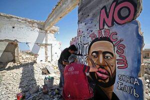 عکس/ نقاشی دیواری جورج فلوید در سوریه