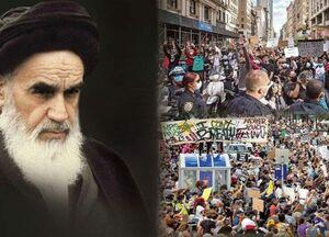 پیش بینی امام خمینی(ره) از اعتراضات مردم آمریکا +عکس