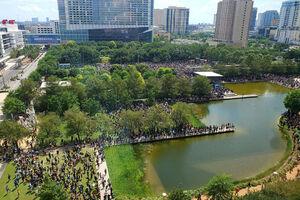 """تصاویر هوایی از جمعیت عظیمی که به خاطر """"جورج فلوید"""""""