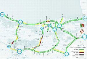 نقشه آخرین وضعیت ترافیک جادهای شمال کشور