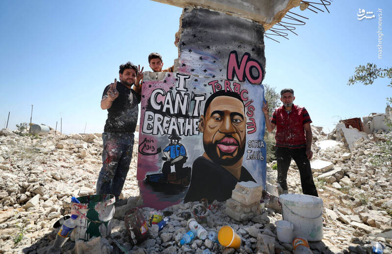 گرافیتی جرج فلوید در ادلب سوریه