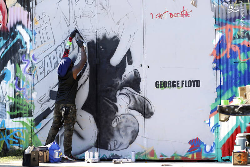 گرافیتی جرج فلوید در آمریکا