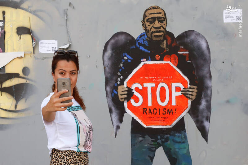 گرافیتی جرج فلوید در بارسلون