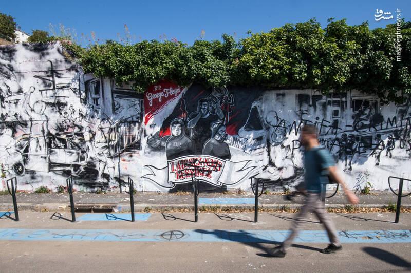 گرافیتی جرج فلوید در نانت فرانسه