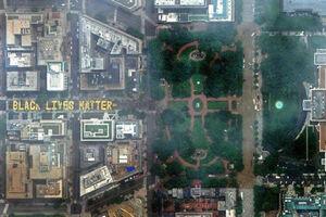 نمای هوایی از خیابان مقابل کاخ سفید