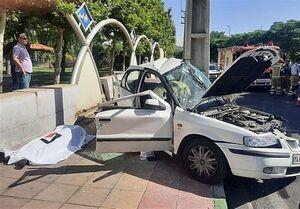 مرگ راننده سمند بر اثر برخورد با تیر برق +عکس