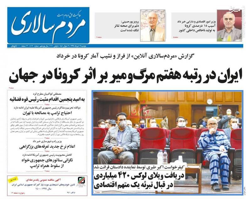 مردم سالاری: ایران در رتبه هفتم مرگ و میر بر اثر کرونا در جهان