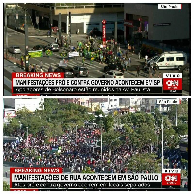 تجمع مخالفان (عکس پایین) و موافقان رئیس جمهور برزیل (عکس بالا)