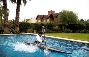 عکس/ تمرین قایقرانی در خانه