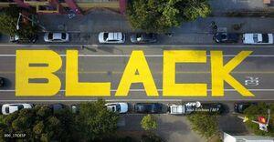 """نوشتن شعار """"جان سیاهان مهم است"""" در خیابانی در سانفرانسیسکو آمریکا"""