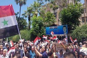 تظاهرات مردم سوریه علیه اقدامات خصمانه آمریکا