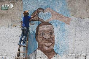 عکس/ نقاشی دیواری هنرمند فلسطینی از چهره جورج فلوید
