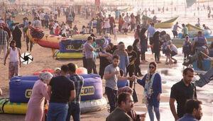 بازی با کرونا در ساحل بابلسر