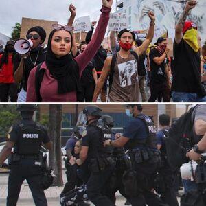 پلیس آمریکا روسری دختر مسلمان را از سر او کشید