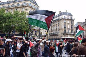عکس/ برافراشتن پرچم فلسطین در خیابانهای پاریس