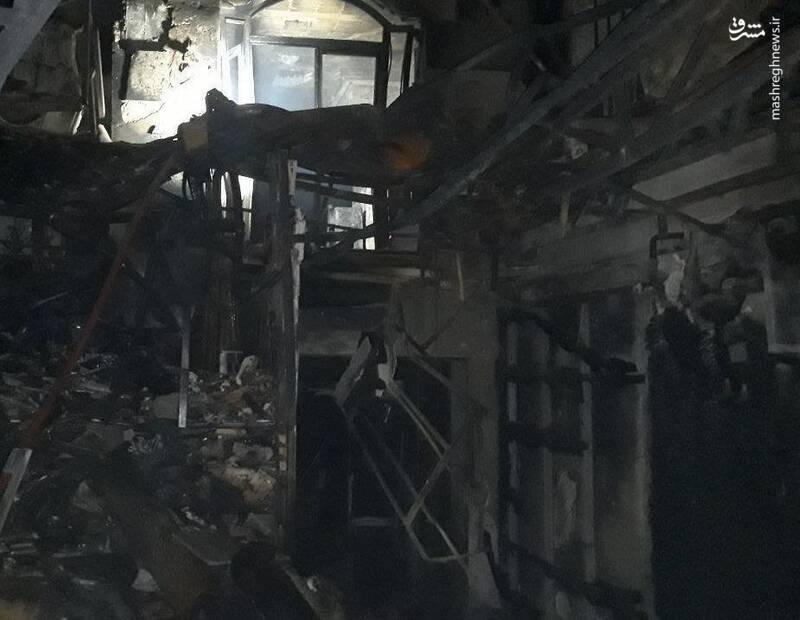 تصویری از محل آتشسوزی در خیابان شریعتی