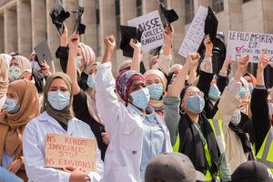 فیلم/ اعتراض مردم بلژیک به بیحجابی اجباری