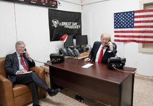 ترامپ و بولتون در عینالاسد - نمایه