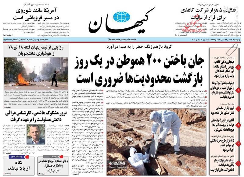 کیهان: جان باختن ۲۰۰ هموطن در یک روز بازگشت محدودیتها ضروری است
