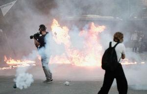 عکس/ درگیری پلیس یونان با معترضان